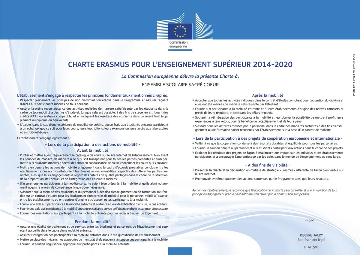 Charte Erasmus pour l'Enseignement Supérieur Sacré-Cœur 2014-2020