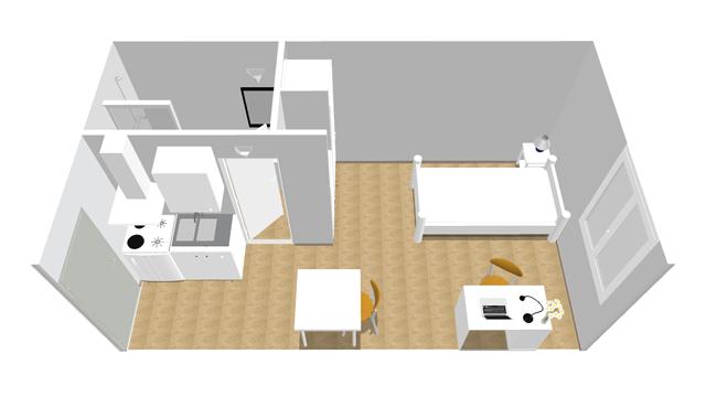 Studio 3D résidence étudiante Sacré-Coeur
