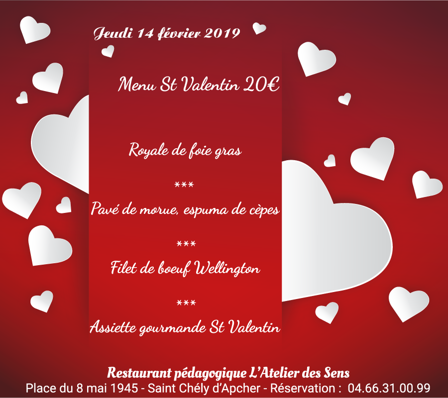 Menu saint valentin 2019