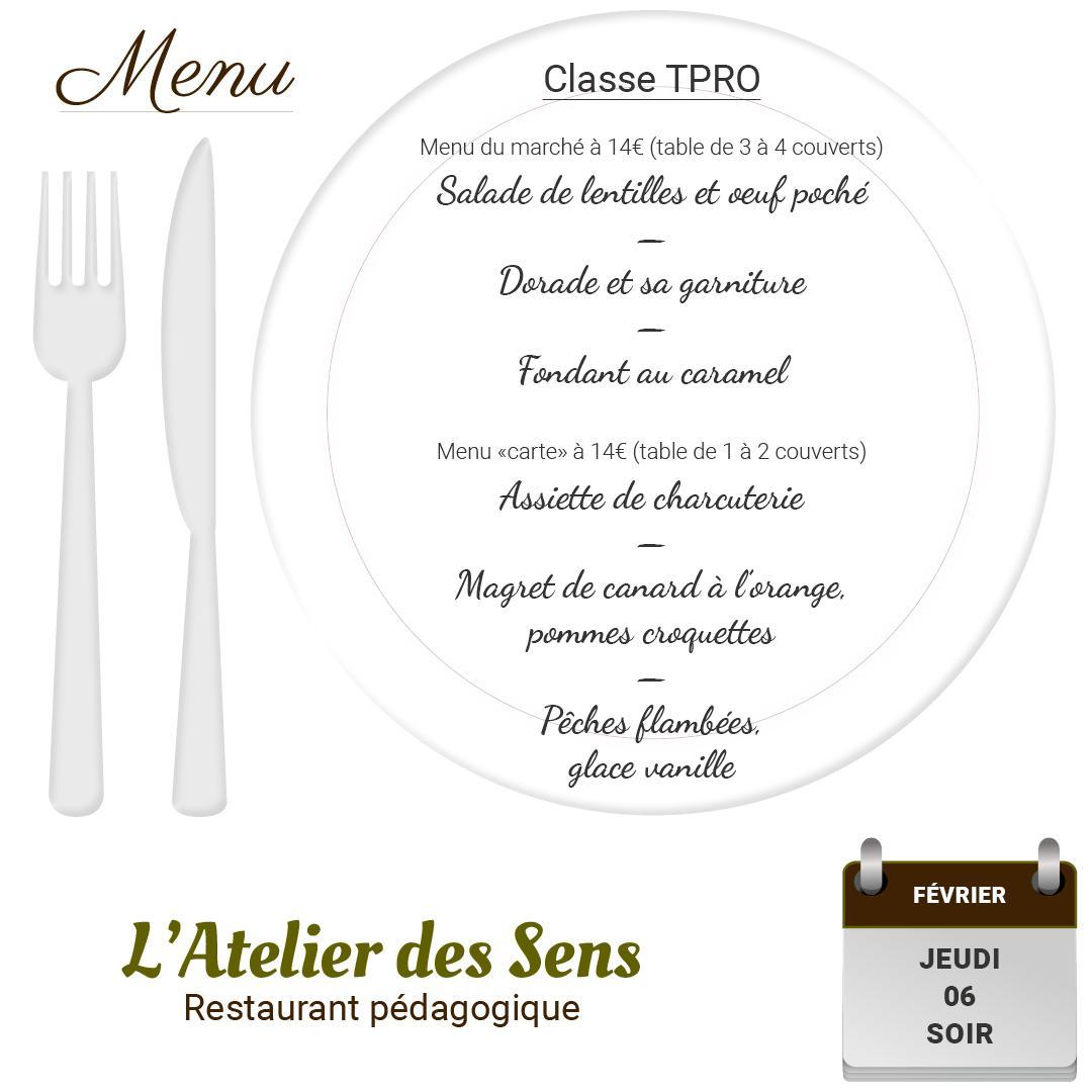 Restaurant l atelier des sens 06 02 2020 soir