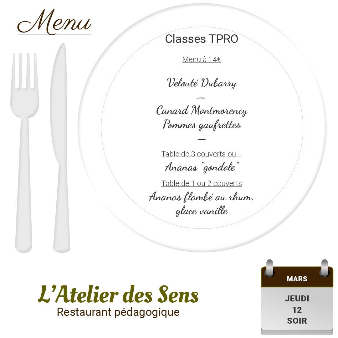 Restaurant l atelier des sens 12 03 2020 soir