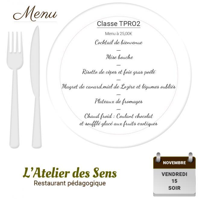 Restaurant l atelier des sens 15 11 19 soir