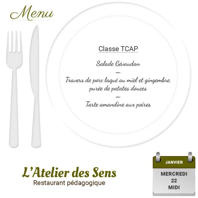 Restaurant l'Atelier des Sens 22 01 2020 midi