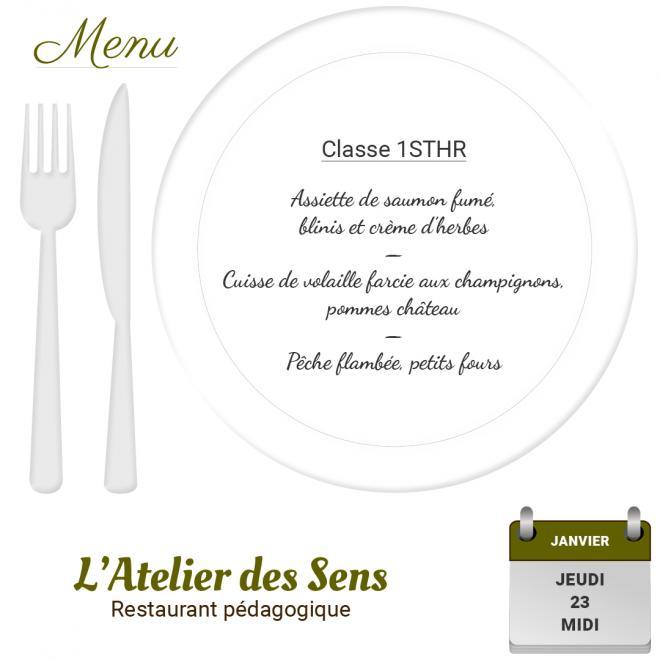Restaurant l'Atelier des Sens 23 01 2020 midi
