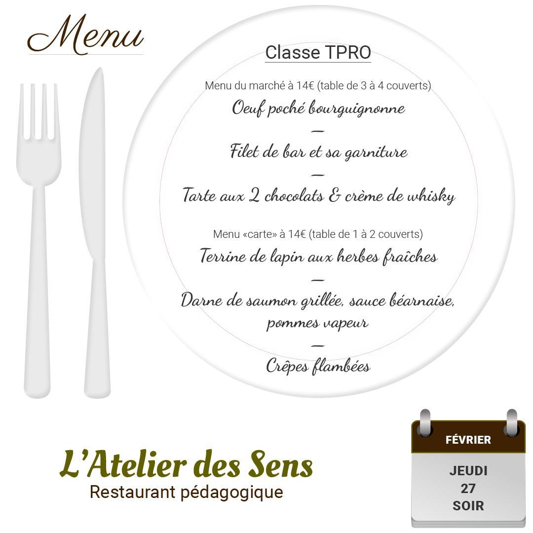 Restaurant l atelier des sens 27 02 2020 soir