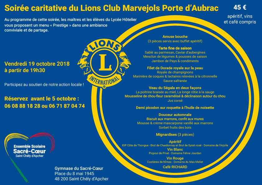 Soirée caritative du Loins Club Marvejols Porte d'Aubrac